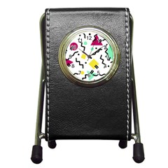 Art Background Abstract Unique Pen Holder Desk Clocks