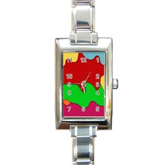 Liquid Forms Water Background Rectangle Italian Charm Watch