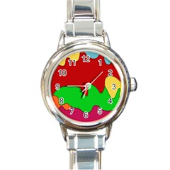 Liquid Forms Water Background Round Italian Charm Watch