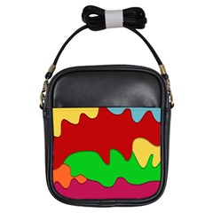 Liquid Forms Water Background Girls Sling Bags