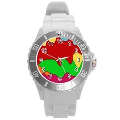 Liquid Forms Water Background Round Plastic Sport Watch (l)