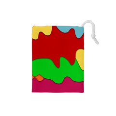 Liquid Forms Water Background Drawstring Pouches (small)