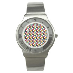 Background Abstract Geometric Stainless Steel Watch