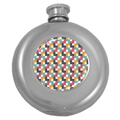 Background Abstract Geometric Round Hip Flask (5 Oz)