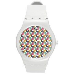 Background Abstract Geometric Round Plastic Sport Watch (m)