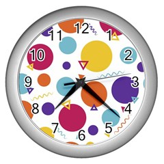 Background Polka Dot Wall Clocks (silver)