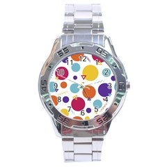 Background Polka Dot Stainless Steel Analogue Watch