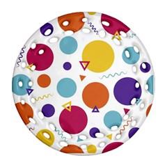 Background Polka Dot Round Filigree Ornament (two Sides)