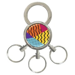 Background Abstract Memphis 3 Ring Key Chains