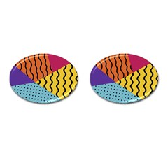 Background Abstract Memphis Cufflinks (oval)