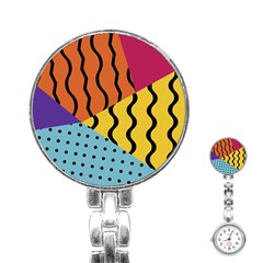 Background Abstract Memphis Stainless Steel Nurses Watch