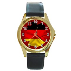 Germany Map Flag Country Red Flag Round Gold Metal Watch