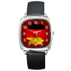 Germany Map Flag Country Red Flag Square Metal Watch