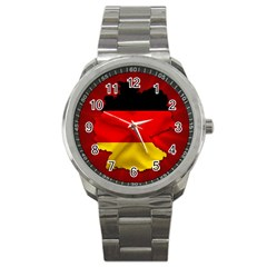 Germany Map Flag Country Red Flag Sport Metal Watch