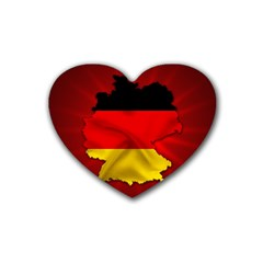 Germany Map Flag Country Red Flag Rubber Coaster (heart)