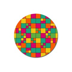 Squares Abstract Background Abstract Magnet 3  (round)