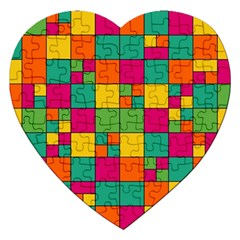 Squares Abstract Background Abstract Jigsaw Puzzle (heart)