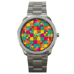 Squares Abstract Background Abstract Sport Metal Watch
