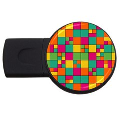Squares Abstract Background Abstract Usb Flash Drive Round (4 Gb)