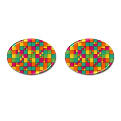 Squares Abstract Background Abstract Cufflinks (oval)
