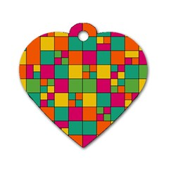 Squares Abstract Background Abstract Dog Tag Heart (one Side)