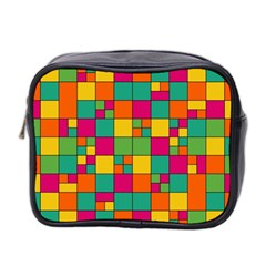 Squares Abstract Background Abstract Mini Toiletries Bag 2 Side