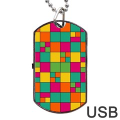 Squares Abstract Background Abstract Dog Tag Usb Flash (two Sides)