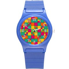 Squares Abstract Background Abstract Round Plastic Sport Watch (s)