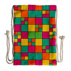 Squares Abstract Background Abstract Drawstring Bag (large) by Nexatart
