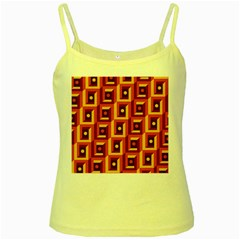 3 D Squares Abstract Background Yellow Spaghetti Tank