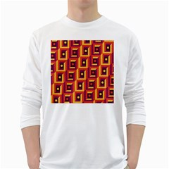 3 D Squares Abstract Background White Long Sleeve T Shirts
