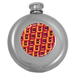 3 D Squares Abstract Background Round Hip Flask (5 Oz)