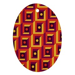 3 D Squares Abstract Background Oval Ornament (two Sides)