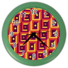 3 D Squares Abstract Background Color Wall Clocks
