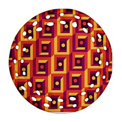 3 D Squares Abstract Background Round Filigree Ornament (two Sides)