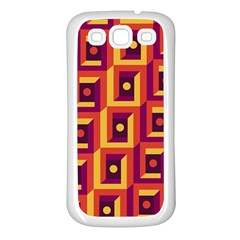3 D Squares Abstract Background Samsung Galaxy S3 Back Case (white)