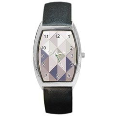 Background Geometric Triangle Barrel Style Metal Watch