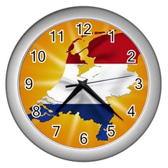 Holland Country Nation Netherlands Flag Wall Clocks (silver)