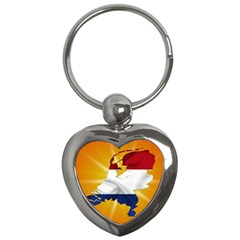 Holland Country Nation Netherlands Flag Key Chains (heart)