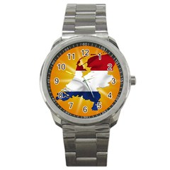 Holland Country Nation Netherlands Flag Sport Metal Watch