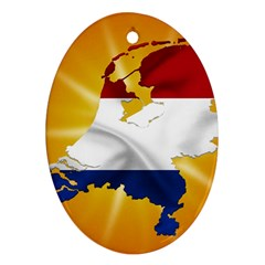 Holland Country Nation Netherlands Flag Oval Ornament (two Sides)