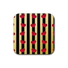 Love Heart Pattern Decoration Abstract Desktop Rubber Square Coaster (4 Pack)