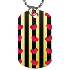 Love Heart Pattern Decoration Abstract Desktop Dog Tag (one Side) by Nexatart