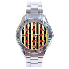Love Heart Pattern Decoration Abstract Desktop Stainless Steel Analogue Watch