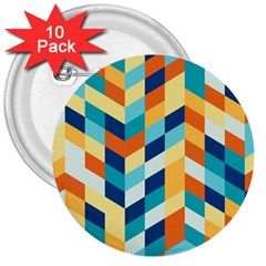 Geometric Retro Wallpaper 3  Buttons (10 Pack)