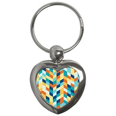 Geometric Retro Wallpaper Key Chains (heart)  by Nexatart