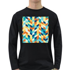 Geometric Retro Wallpaper Long Sleeve Dark T Shirts