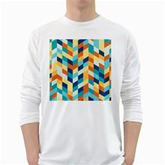 Geometric Retro Wallpaper White Long Sleeve T Shirts