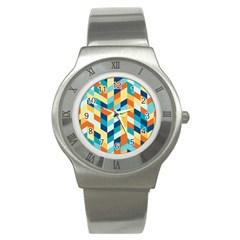 Geometric Retro Wallpaper Stainless Steel Watch
