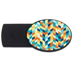 Geometric Retro Wallpaper Usb Flash Drive Oval (4 Gb)